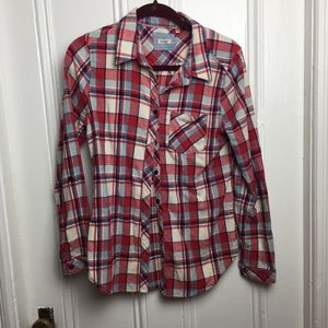 True grit red plaid flannel button up